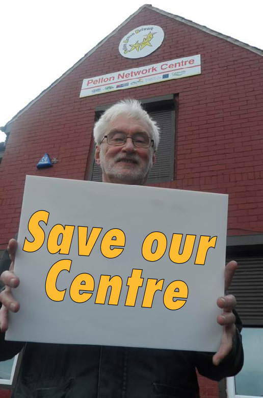 Councillor Ashley Evans campaigning to save the centre.