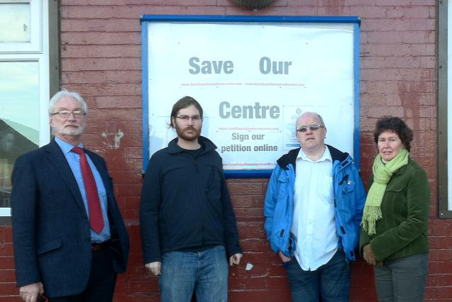Councillors Ashley Evans, James Baker campaigning to save the centre with Paul Tait and Jennifer Pearson