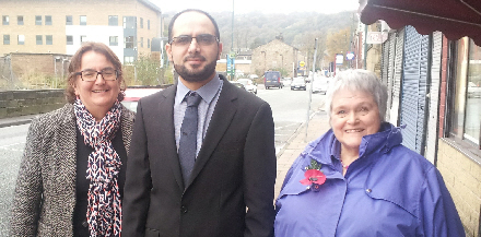 Picture shows the victorious Lib Dem Cllr Abbas with Calder Ward Cllr Janet Battye (left) and Stoodley Ward Cllr Margareta Holmstedt (right)