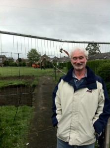 Councillor Ashley Evans by Sandhall Green where work has started on a new park.