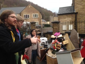Councillor James Baker,  helping flood affected families in Hebden Bridge