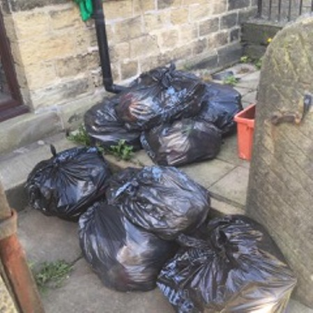 Uncollected Rubbish in Drury Lane, Stainland