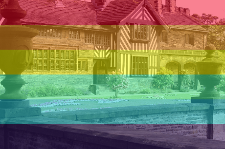 Orginal picture by Rictor Norton & David Allen (CC BY 2.0) adapted to add rainbow flag. https://flic.kr/p/a4oKRT